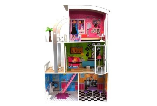 Clifton doll house modern 3 lvl w/ curved roof, lift & furn