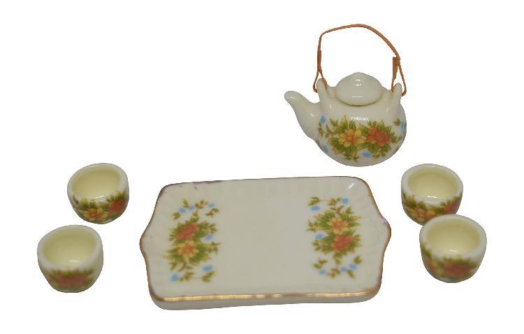 1:12 scale 7 piece mini dollhouse size beige tone floral tea