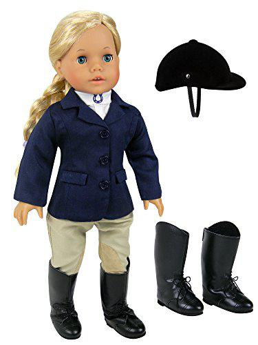 18 inch doll horse riding outfit, 5 piece complete navy