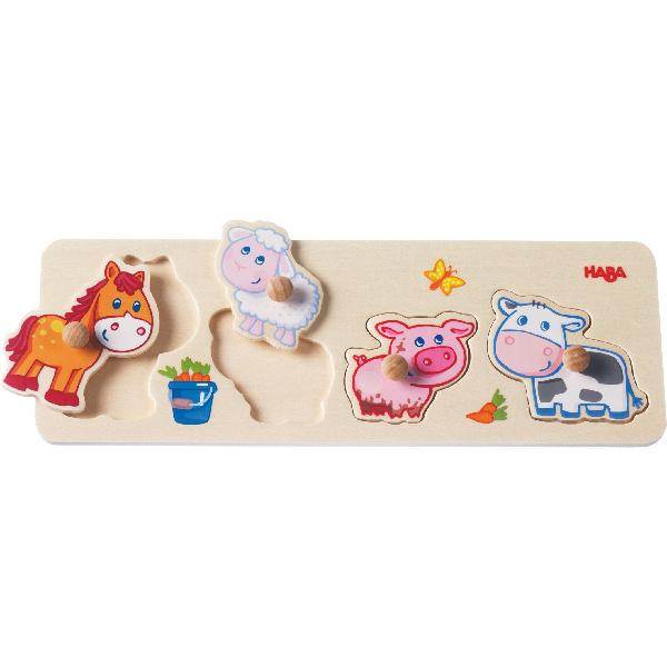 Haba baby farm animals clutching puzzle - 4 piece jumbo knob