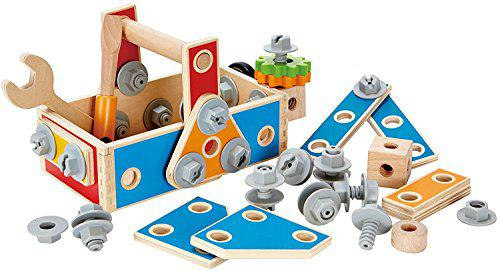Hape handyman go-to-caddy kid's wooden tool box set (amazon