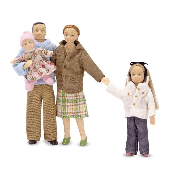 Melissa & doug 4-piece victorian vinyl poseable doll family