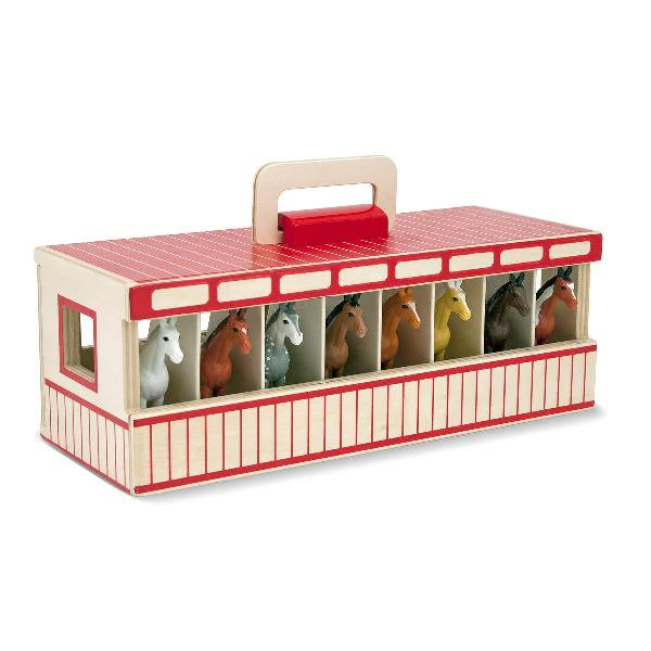 Melissa & doug take-along show-horse stable play set with