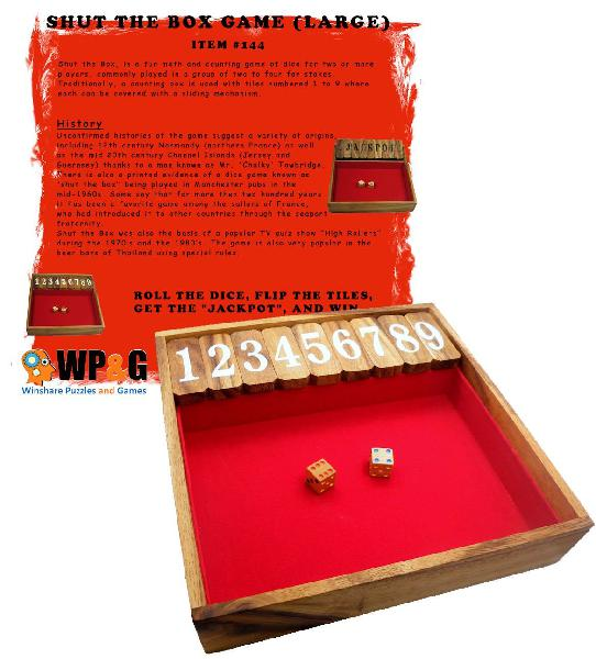 Shut the box game large, wooden old fashioned dice fun play