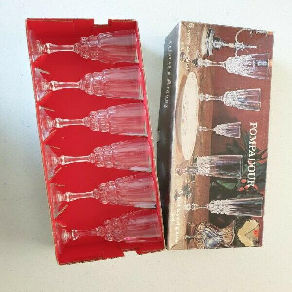 Vintage cristal d'arques pompadour set of 6 lead crystal