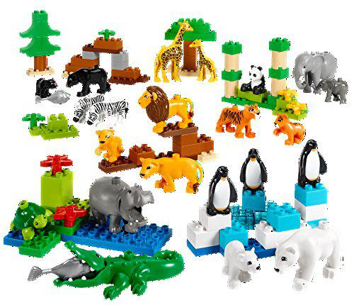 Wild animals set for understanding animal habitats by lego