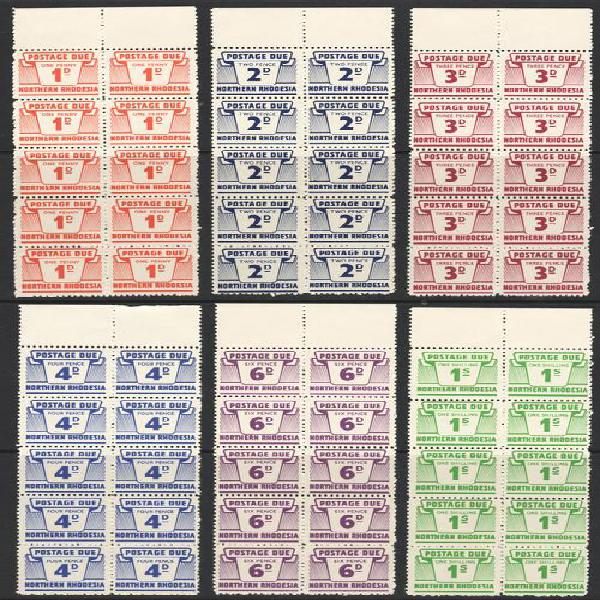 Northern rhodesia sg d5/10 complete set of six postage dues