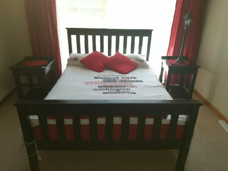 Double sized wooden bed with 2 night stands & mattress