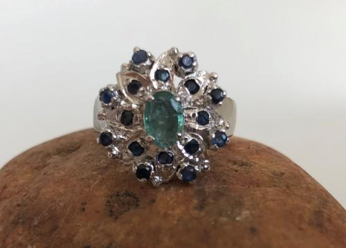 925 silver ring - flower shape (size r)