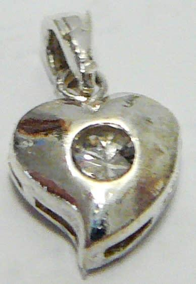 A cute silver heart pendant set with a pretty cubic zirconia