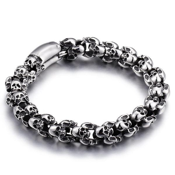 Casting stainless steel skeleton skull chain bracelet men
