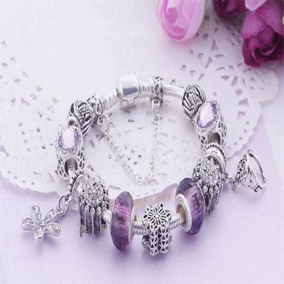 Charming purple and silver colour bracelet with princess