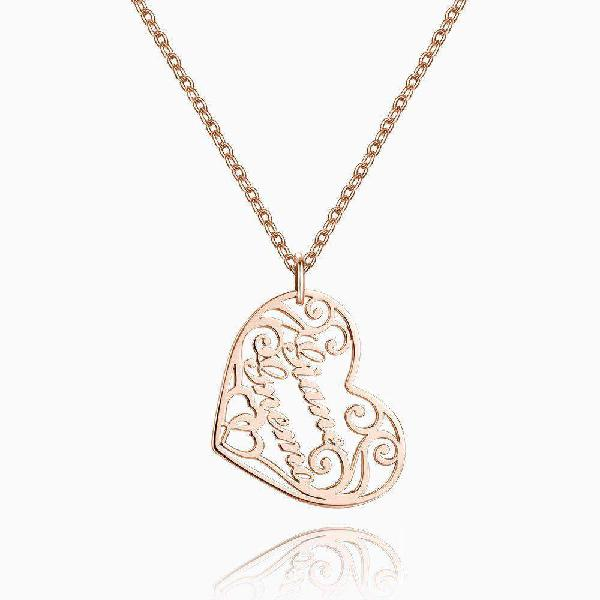 Filigree heart two name necklace rose gold plated silver