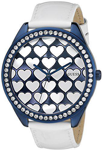 Guess women's u0535l2 iconic blue & white dazzling hearts