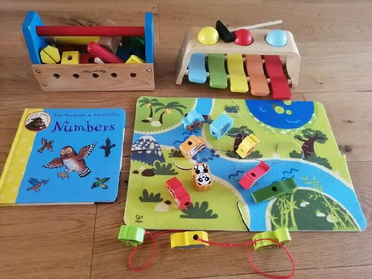 Hape, melissa&doug, wooden toys set, children book