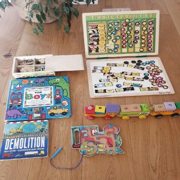 Hape, melissa&doug, wooden toys set