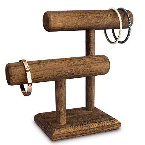 Ikee design 2 tier wooden jewelry bracelet watch display,