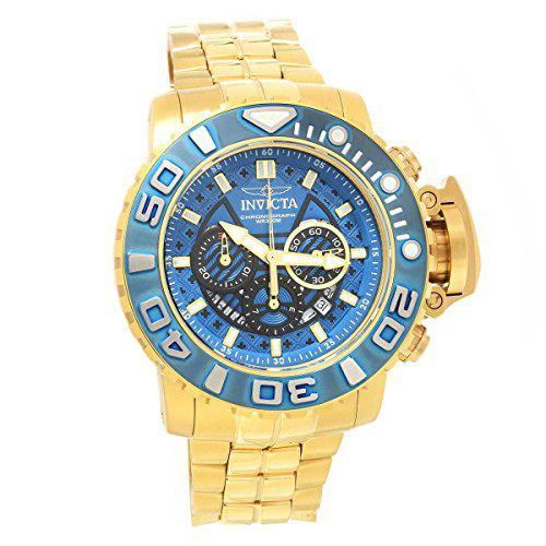 Invicta 22134 men's sea hunter chrono yellow gold steel dive