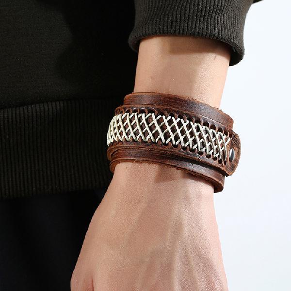 Retro wide version bracelet soft leather vintage bracelet