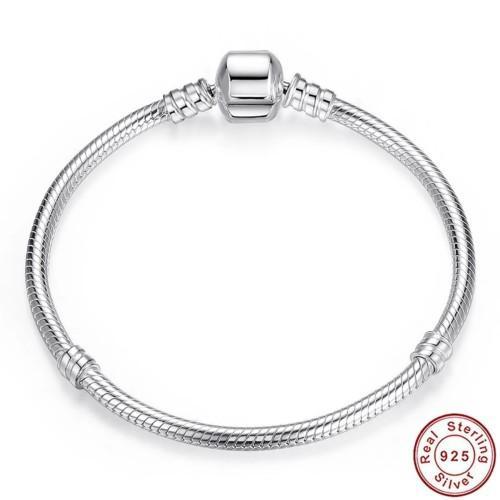 S925 sterling silver barrel clasp snake chain bracelet, size
