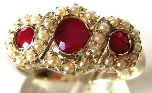 Spectacular triple rubies and seed pearls ring