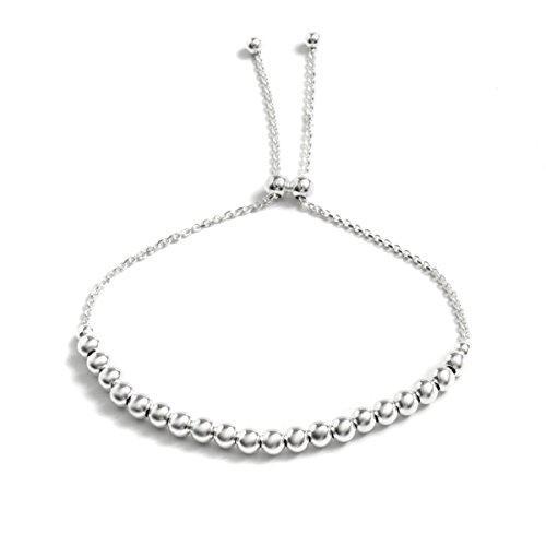 Sterling silver diamond-cut ball adjustable bracelet