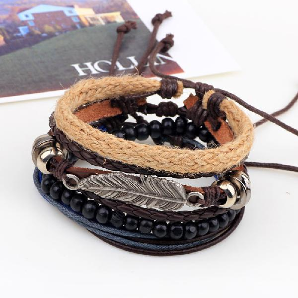 Vintage multilayer wood beads woven leather bracelet leaf