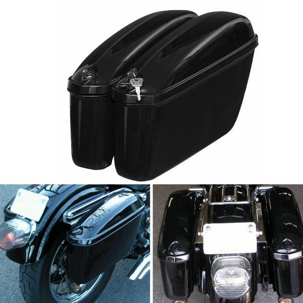 22l black motorcycle side hard saddle bags saddlebags trunk