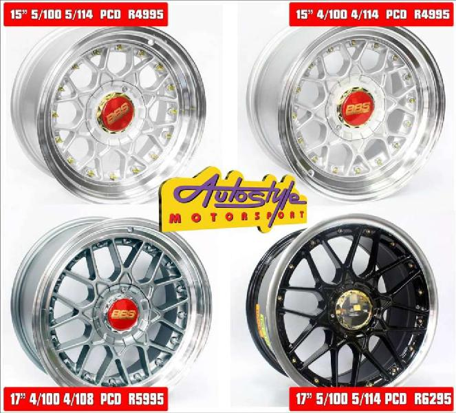 BBS style replica mags rims wheels alloys. assorted designs.