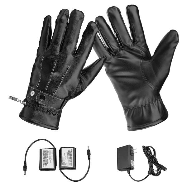 Motorcycle electric heated gloves touch screen leather hand