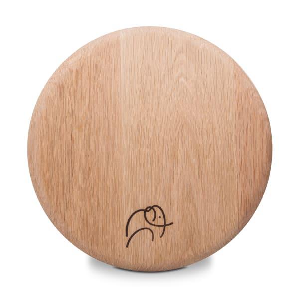 Laid back company round oak placemat