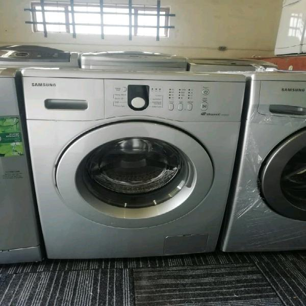 Silver samsung diamond drum front loader washing machine