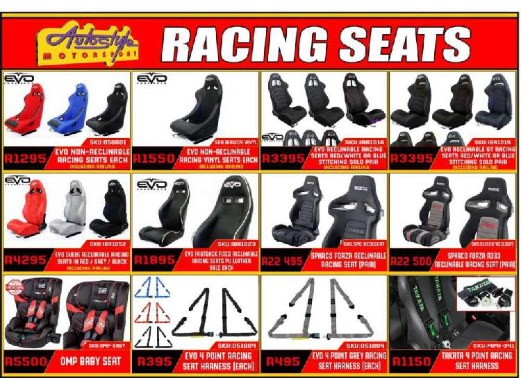 Racing reclinable and fixed non reclining seats. genuine