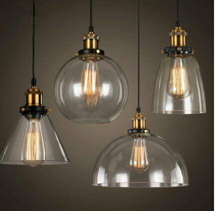 Vintage retro glass pendant lamps light nordic hanglamp home