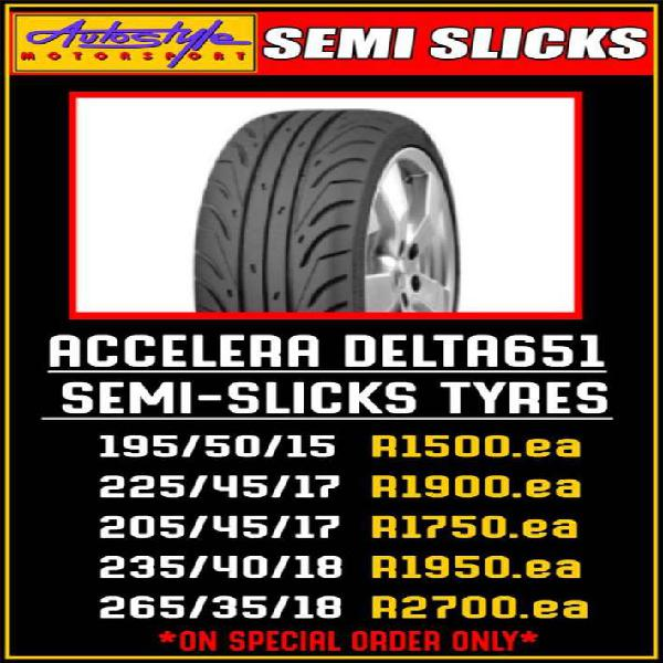 Semi slick racing tyres also for drifting use avail
