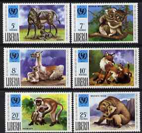Liberia 1971 unicef - animals & their young perf set of 6