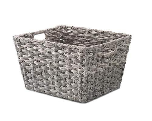 Decorative Storage Basket Large Tote with Chromed Metal