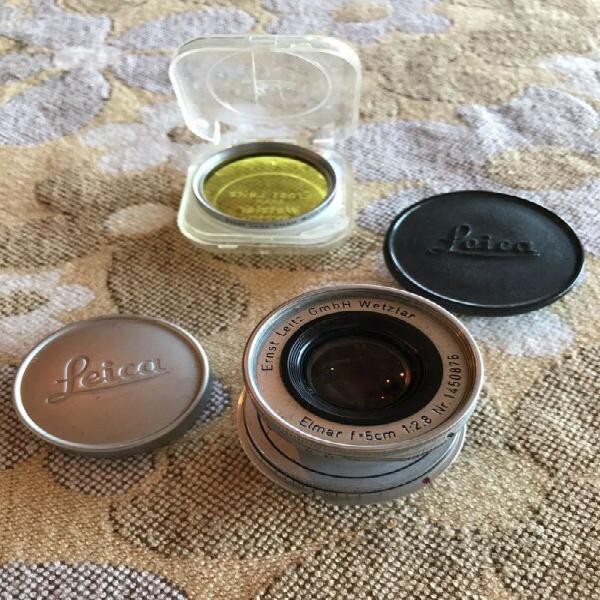 Leica elmar collapsable 50mm lens + accessories.