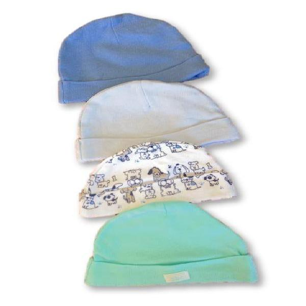 Newborn shades of blue, printed & turquoise beanies [x4]-