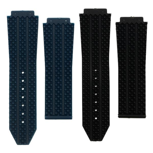 25mm Replacement Black Blue Silicone Rubber Watch Band Strap