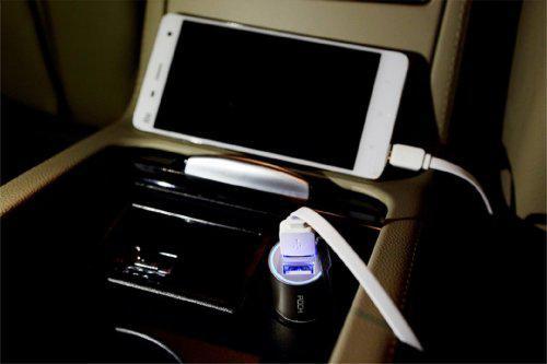 Rock dual usb car charger - black