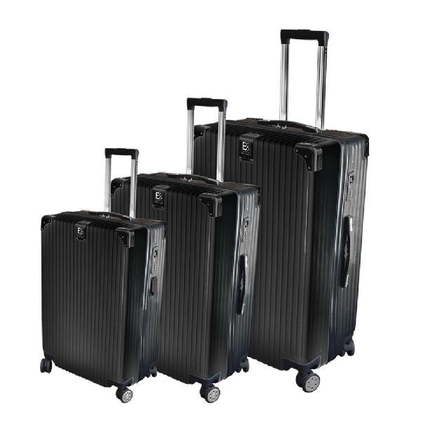 Eco earth berlin 3 piece luggage spinner set | black