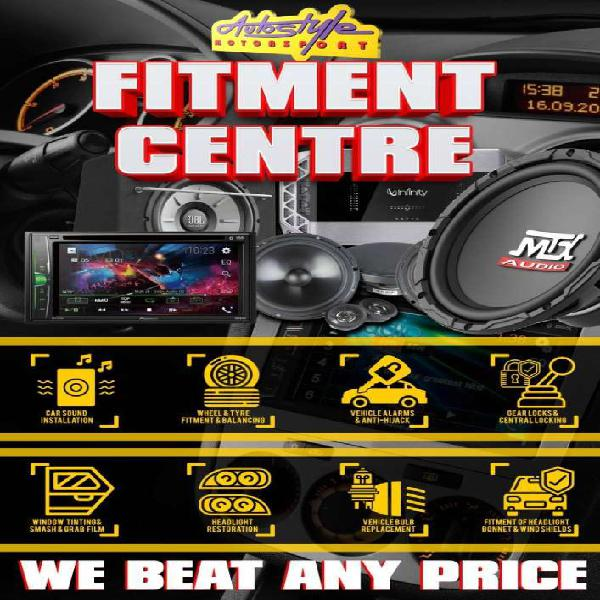 Fitment and supply of car audio, tyres, mag wheels, alarm