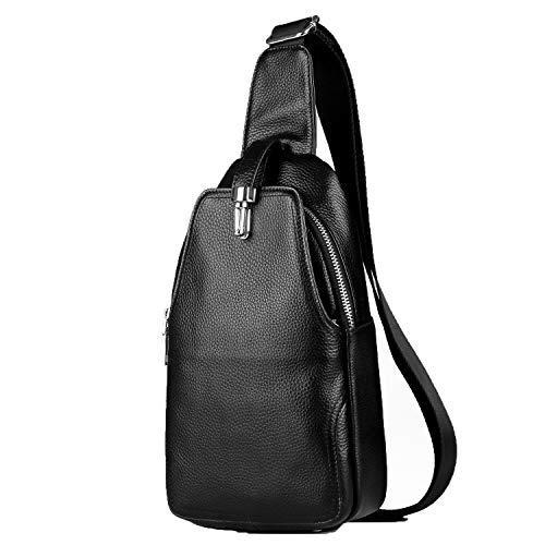 LXFF Men's Leather Sling Bag Chest Bag Pack Backpack