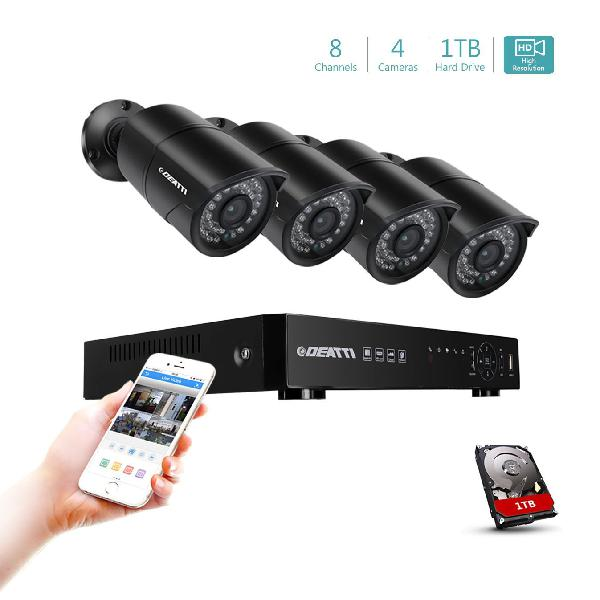 DEATTI 8CH HD 1080P Security Camera System, 5 in 1 DVR