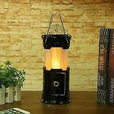 Solar flame light camping lantern