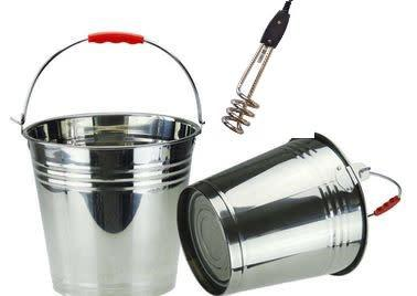 Water heater rod + 8l stailess steel bucket- something