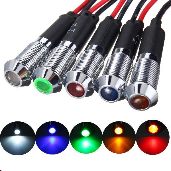 12v 8mm led indicator lamp light bulb dash warning panel car