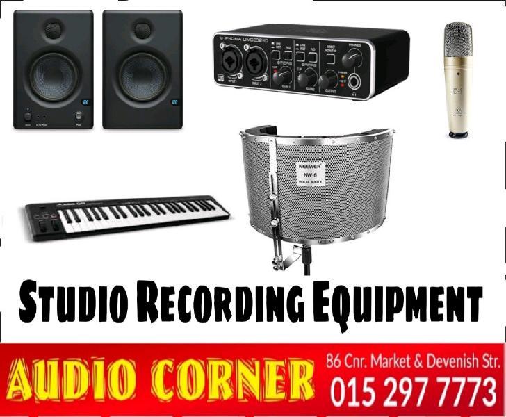Studio equipment available at audio corner