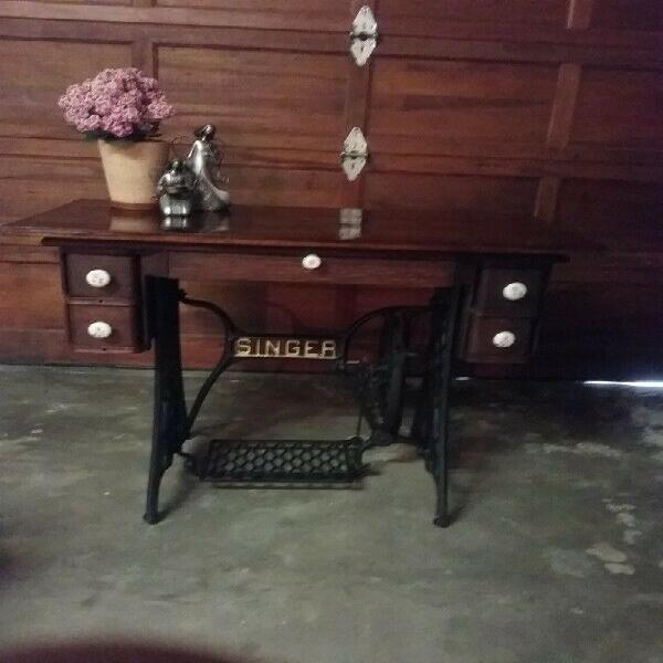 Antique singer machine table refurbished as desk or